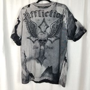 Affliction Shirts - Affliction graphic tee shirt size 2X gray black